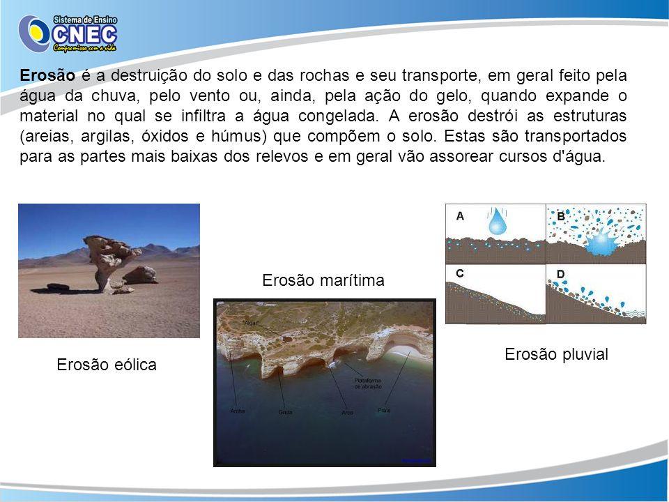 Erosão é a destruição do solo e das rochas e seu transporte, em geral feito pela água da chuva, pelo vento ou, ainda, pela ação do gelo, quando expande o material no qual se infiltra a água congelada. A erosão destrói as estruturas (areias, argilas, óxidos e húmus) que compõem o solo. Estas são transportados para as partes mais baixas dos relevos e em geral vão assorear cursos d água.