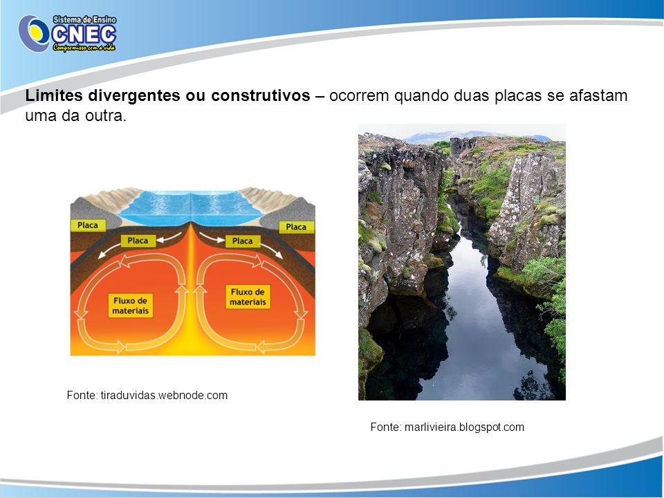 Limites divergentes ou construtivos – ocorrem quando duas placas se afastam uma da outra.