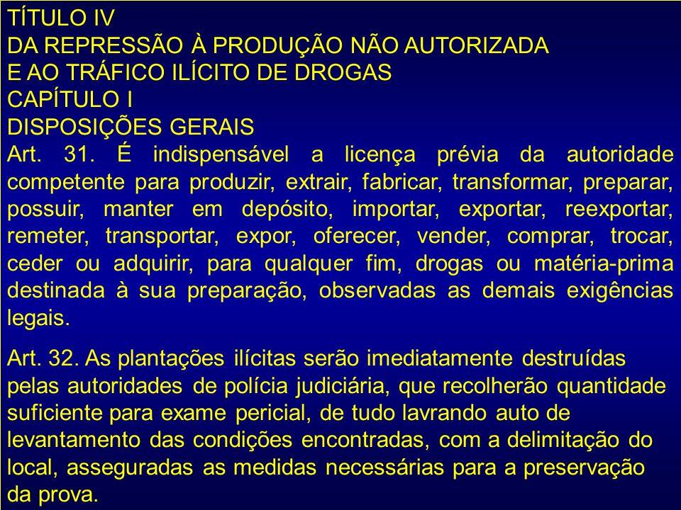 TÍTULO IV DA REPRESSÃO À PRODUÇÃO NÃO AUTORIZADA. E AO TRÁFICO ILÍCITO DE DROGAS. CAPÍTULO I. DISPOSIÇÕES GERAIS.