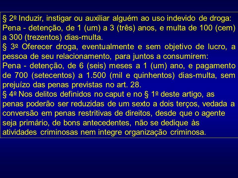 § 2o Induzir, instigar ou auxiliar alguém ao uso indevido de droga: