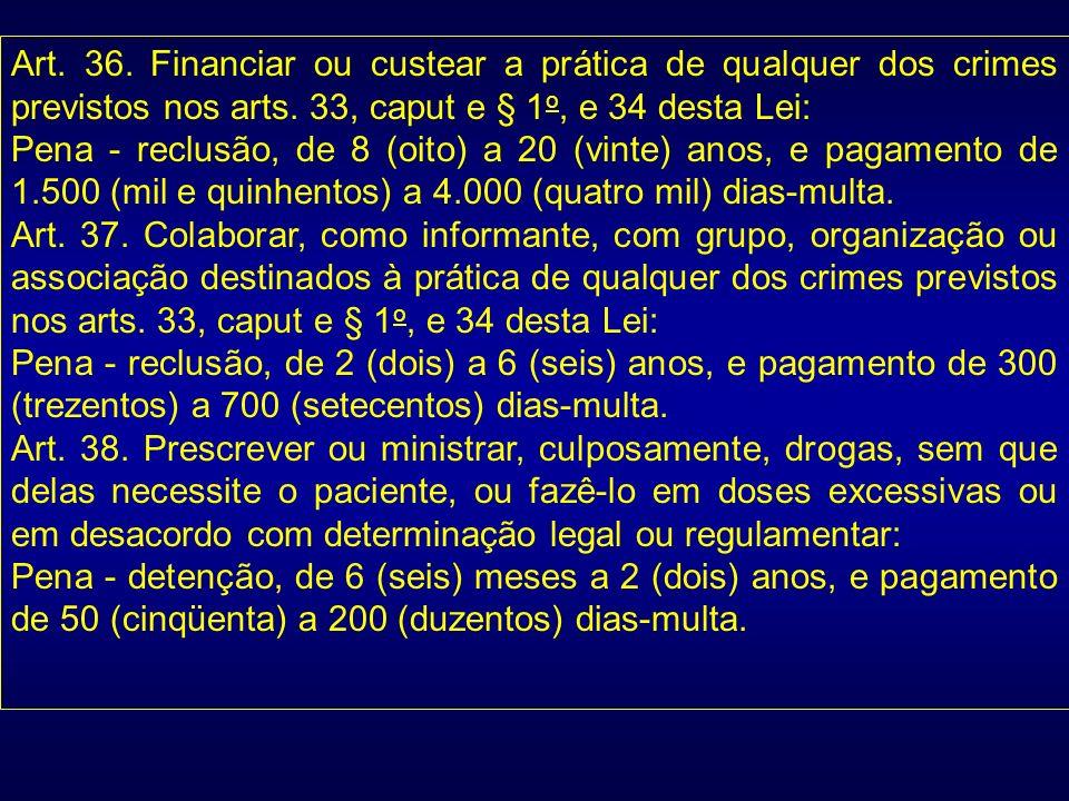 Art. 36. Financiar ou custear a prática de qualquer dos crimes previstos nos arts. 33, caput e § 1o, e 34 desta Lei: