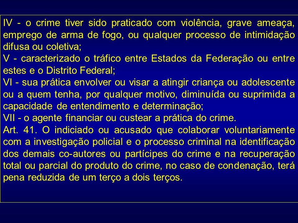 IV - o crime tiver sido praticado com violência, grave ameaça, emprego de arma de fogo, ou qualquer processo de intimidação difusa ou coletiva;
