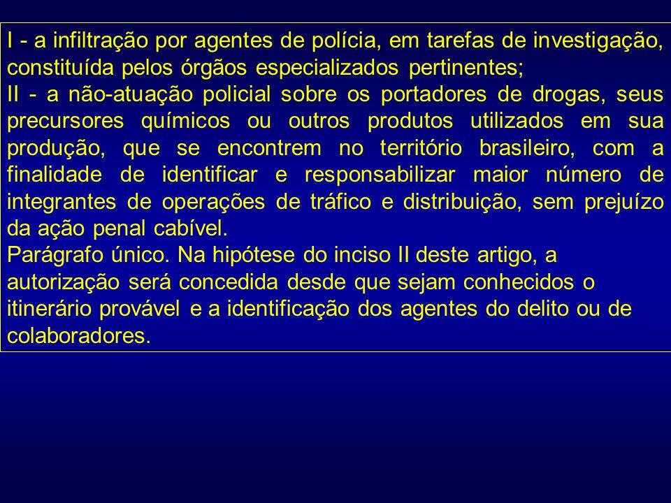 I - a infiltração por agentes de polícia, em tarefas de investigação, constituída pelos órgãos especializados pertinentes;