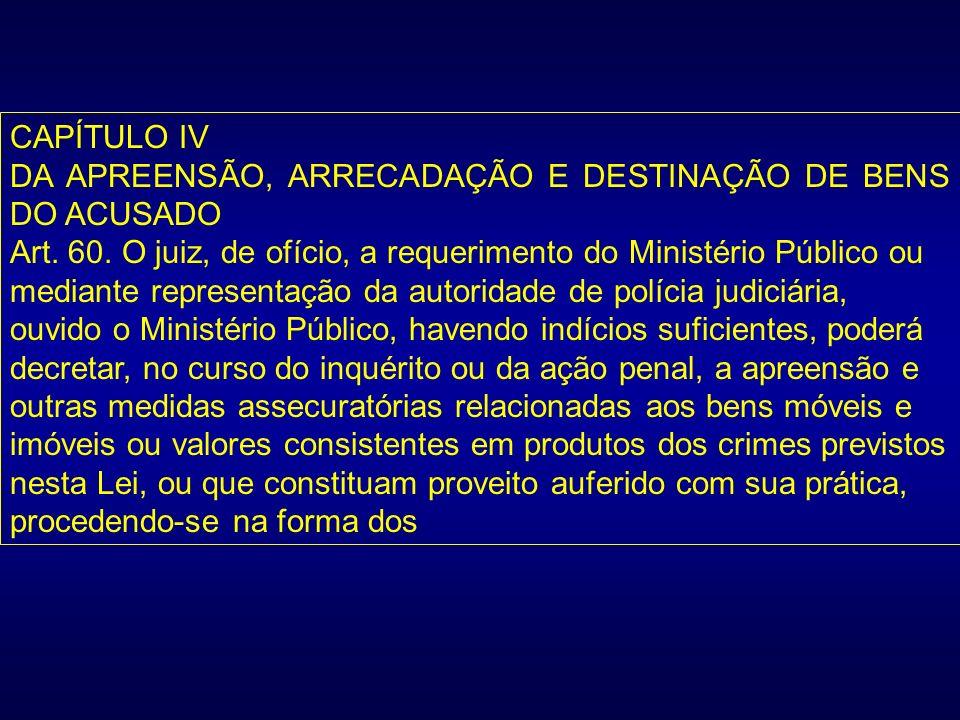 CAPÍTULO IVDA APREENSÃO, ARRECADAÇÃO E DESTINAÇÃO DE BENS DO ACUSADO.