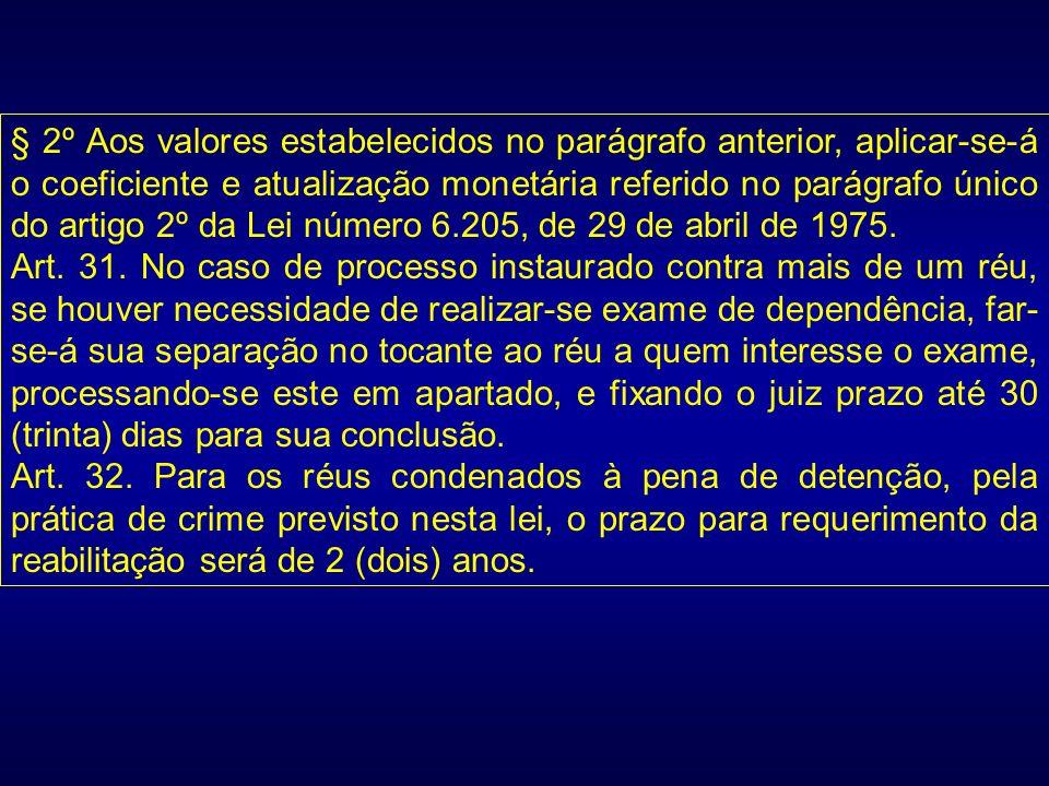 § 2º Aos valores estabelecidos no parágrafo anterior, aplicar-se-á o coeficiente e atualização monetária referido no parágrafo único do artigo 2º da Lei número 6.205, de 29 de abril de 1975.