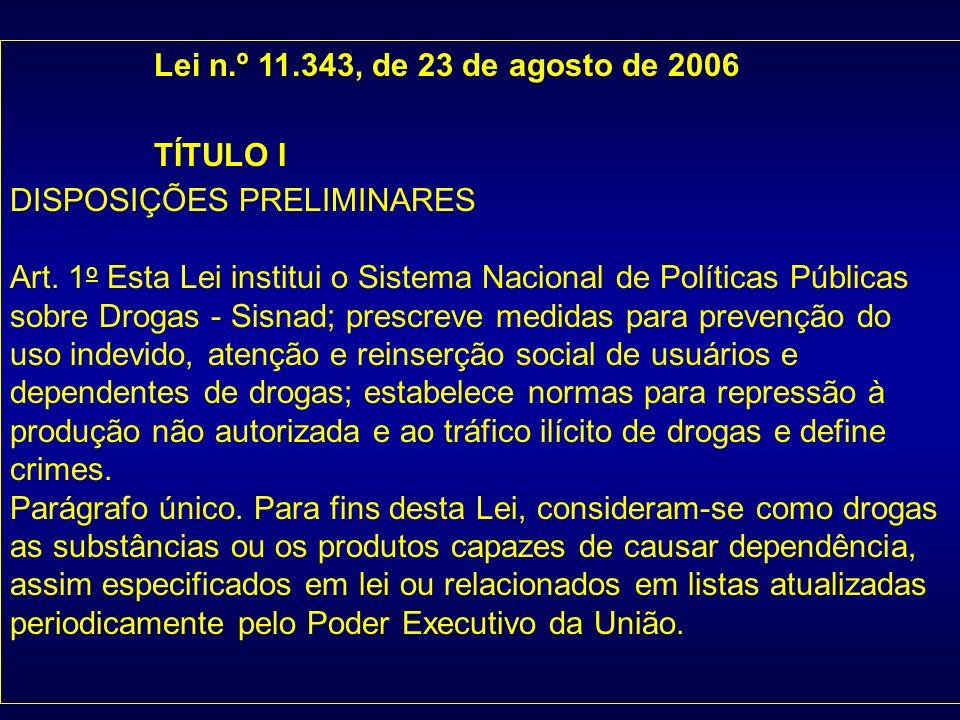 Lei n.º 11.343, de 23 de agosto de 2006 TÍTULO I. DISPOSIÇÕES PRELIMINARES.