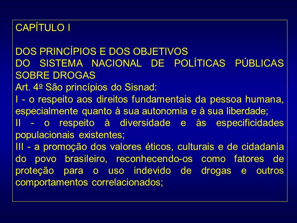 CAPÍTULO IDOS PRINCÍPIOS E DOS OBJETIVOS. DO SISTEMA NACIONAL DE POLÍTICAS PÚBLICAS SOBRE DROGAS. Art. 4o São princípios do Sisnad: