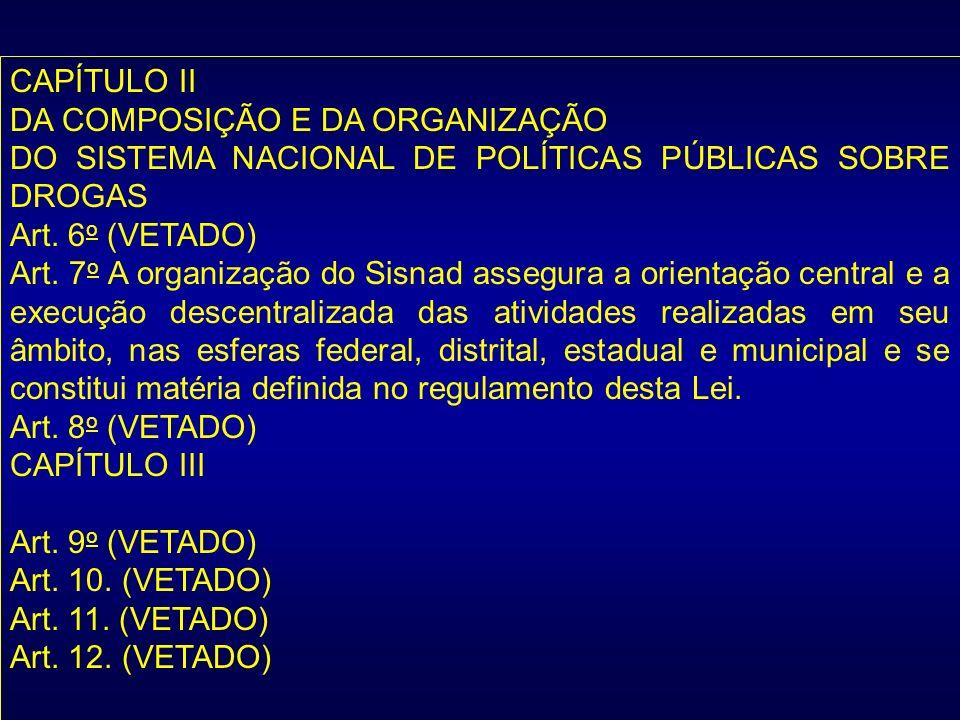 CAPÍTULO IIDA COMPOSIÇÃO E DA ORGANIZAÇÃO. DO SISTEMA NACIONAL DE POLÍTICAS PÚBLICAS SOBRE DROGAS. Art. 6o (VETADO)