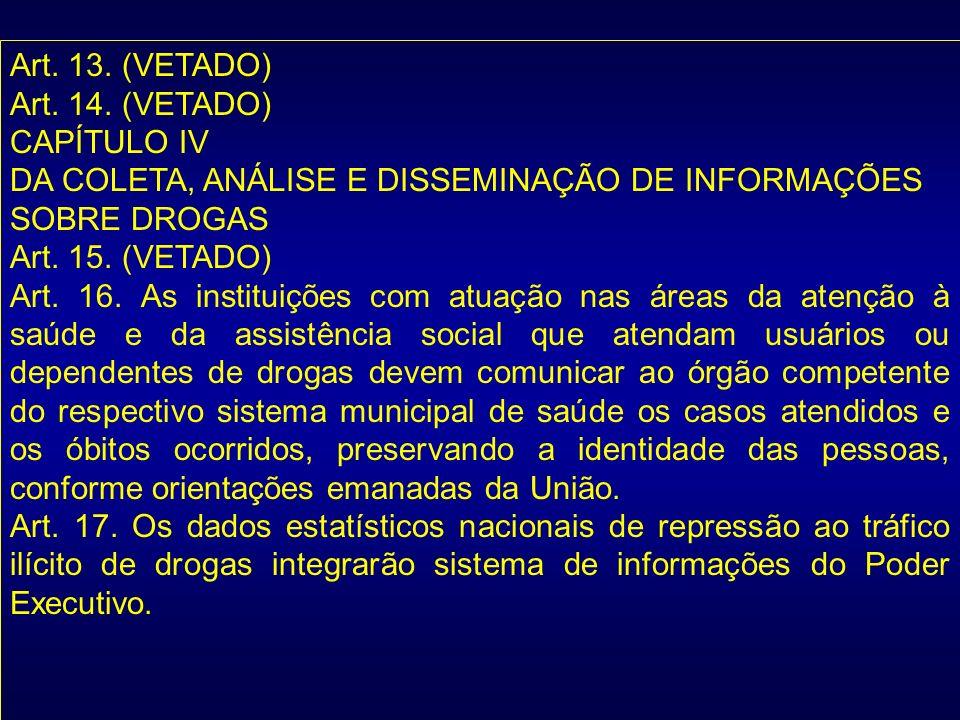 Art. 13. (VETADO) Art. 14. (VETADO) CAPÍTULO IV. DA COLETA, ANÁLISE E DISSEMINAÇÃO DE INFORMAÇÕES.