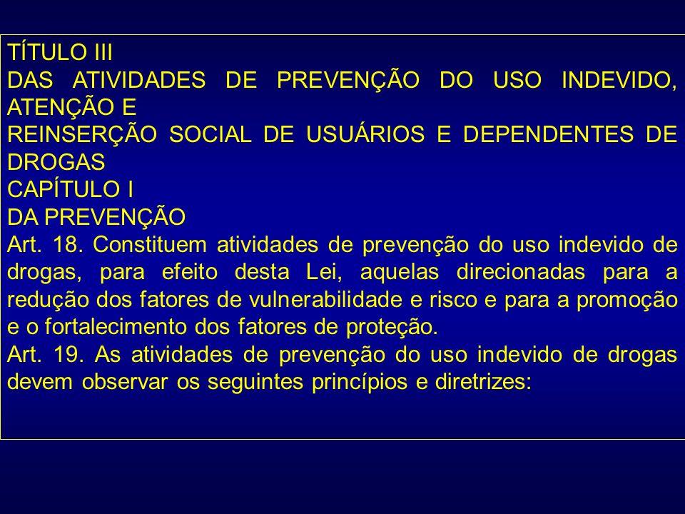 TÍTULO III DAS ATIVIDADES DE PREVENÇÃO DO USO INDEVIDO, ATENÇÃO E. REINSERÇÃO SOCIAL DE USUÁRIOS E DEPENDENTES DE DROGAS.