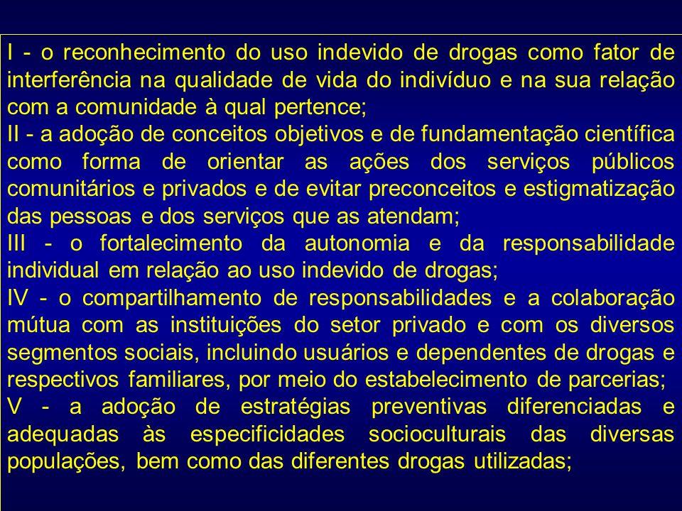 I - o reconhecimento do uso indevido de drogas como fator de interferência na qualidade de vida do indivíduo e na sua relação com a comunidade à qual pertence;