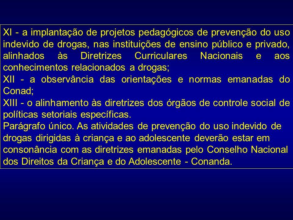 XI - a implantação de projetos pedagógicos de prevenção do uso indevido de drogas, nas instituições de ensino público e privado, alinhados às Diretrizes Curriculares Nacionais e aos conhecimentos relacionados a drogas;