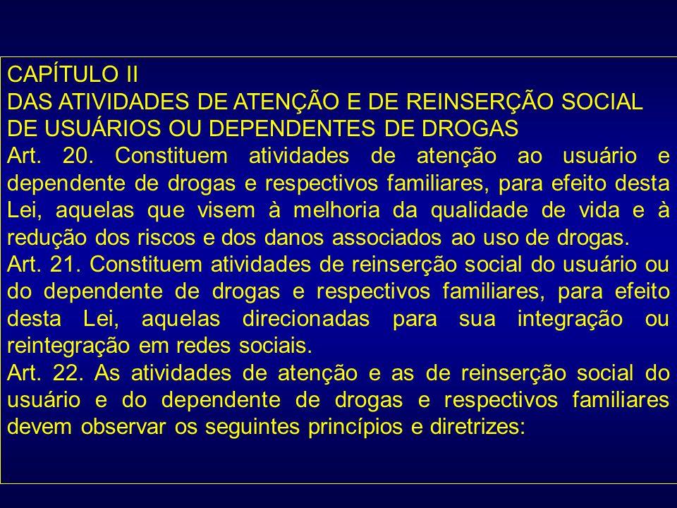 CAPÍTULO II DAS ATIVIDADES DE ATENÇÃO E DE REINSERÇÃO SOCIAL. DE USUÁRIOS OU DEPENDENTES DE DROGAS.