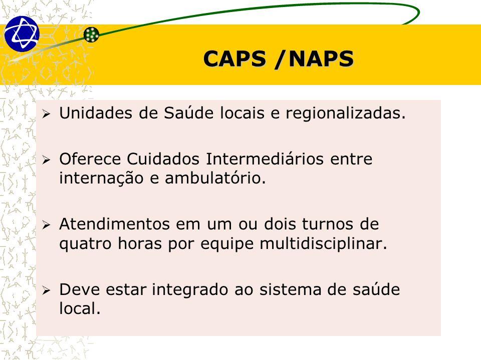 CAPS /NAPS Unidades de Saúde locais e regionalizadas.