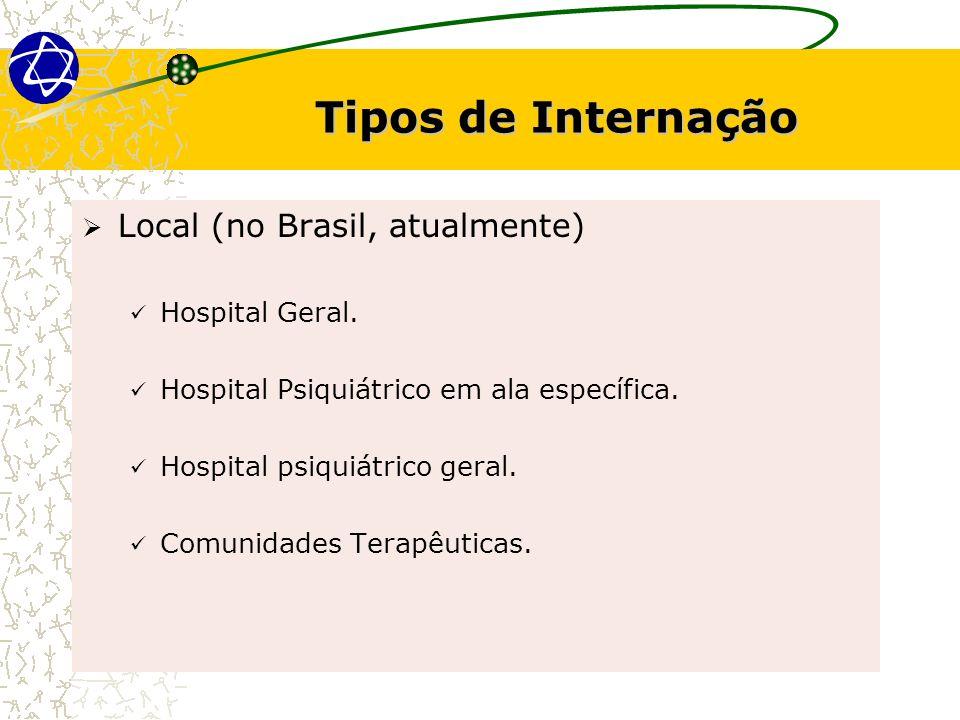 Tipos de Internação Local (no Brasil, atualmente) Hospital Geral.