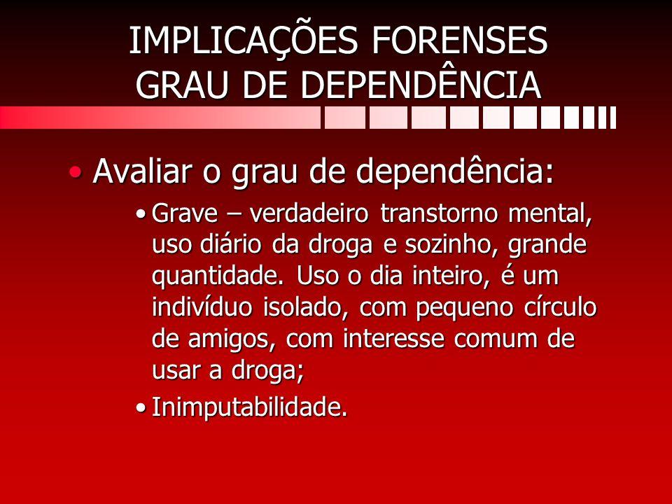 IMPLICAÇÕES FORENSES GRAU DE DEPENDÊNCIA