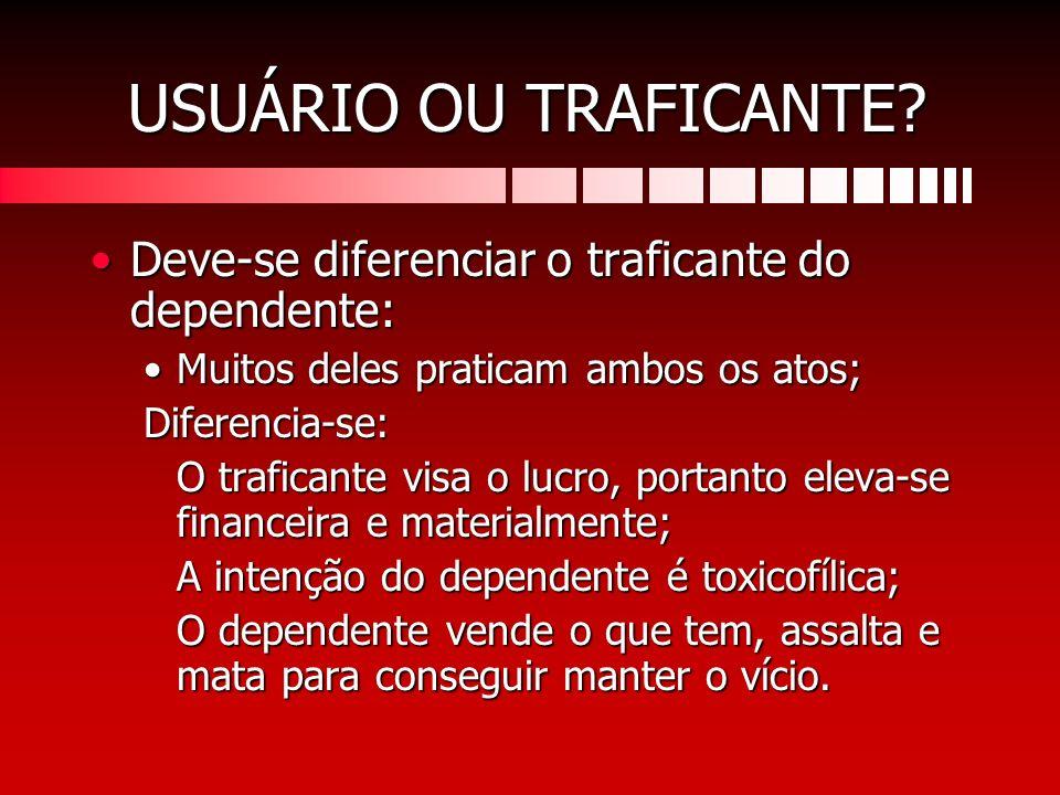 USUÁRIO OU TRAFICANTE Deve-se diferenciar o traficante do dependente: