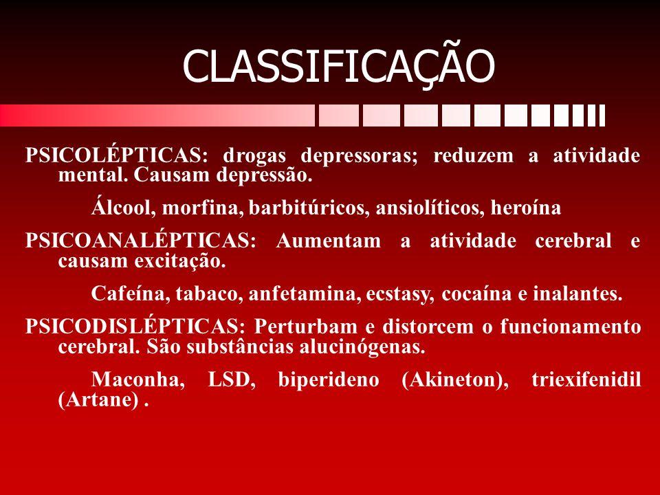 CLASSIFICAÇÃO PSICOLÉPTICAS: drogas depressoras; reduzem a atividade mental. Causam depressão. Álcool, morfina, barbitúricos, ansiolíticos, heroína.