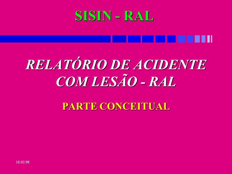 RELATÓRIO DE ACIDENTE COM LESÃO - RAL