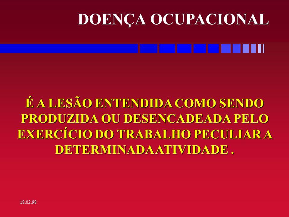 DOENÇA OCUPACIONAL É A LESÃO ENTENDIDA COMO SENDO PRODUZIDA OU DESENCADEADA PELO EXERCÍCIO DO TRABALHO PECULIAR A DETERMINADA ATIVIDADE .