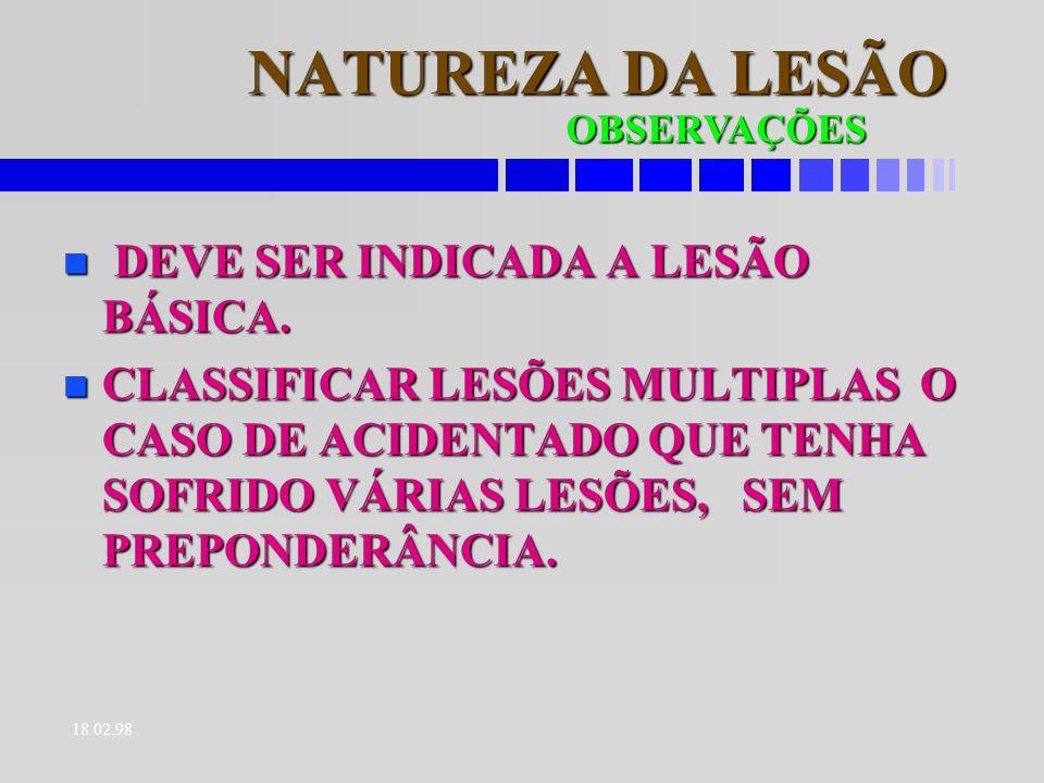NATUREZA DA LESÃO DEVE SER INDICADA A LESÃO BÁSICA.