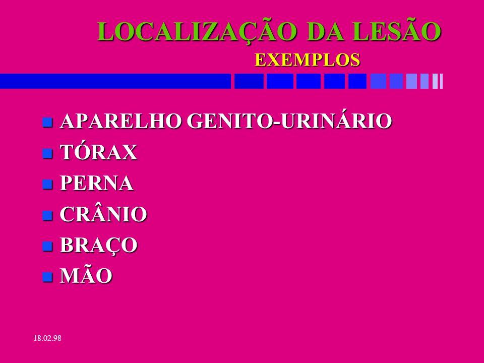 LOCALIZAÇÃO DA LESÃO APARELHO GENITO-URINÁRIO TÓRAX PERNA CRÂNIO BRAÇO