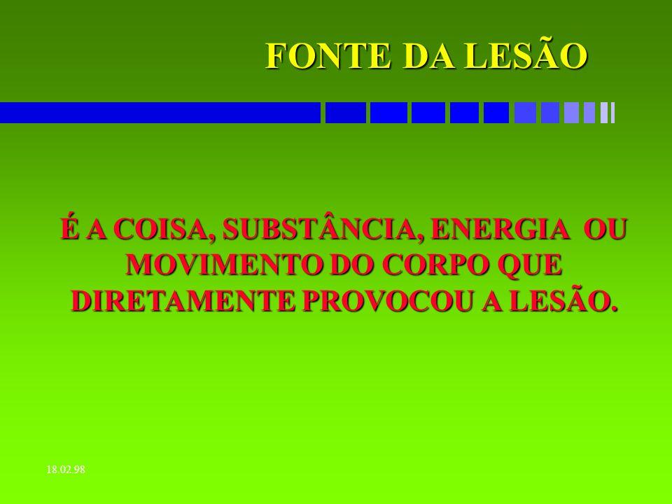 FONTE DA LESÃO É A COISA, SUBSTÂNCIA, ENERGIA OU MOVIMENTO DO CORPO QUE DIRETAMENTE PROVOCOU A LESÃO.