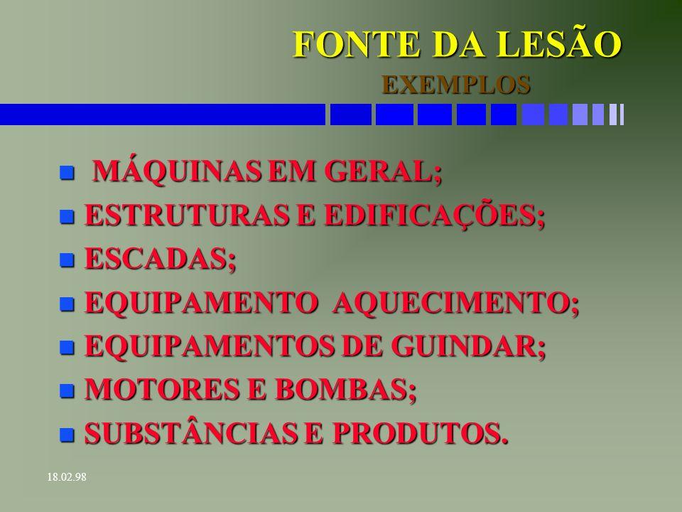 FONTE DA LESÃO MÁQUINAS EM GERAL; ESTRUTURAS E EDIFICAÇÕES; ESCADAS;