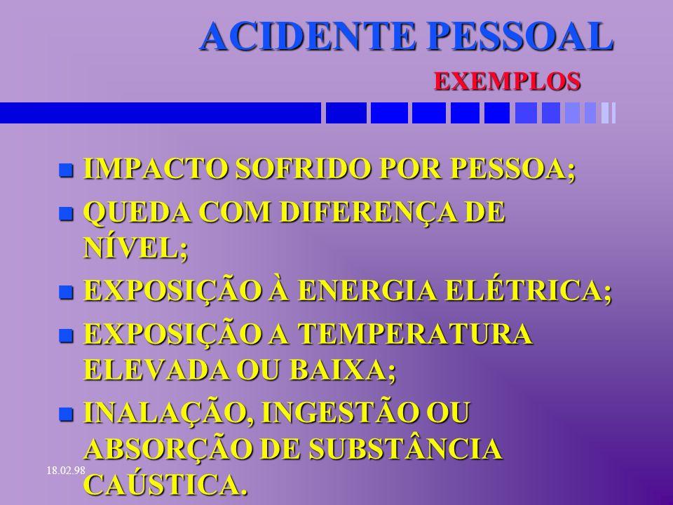 ACIDENTE PESSOAL IMPACTO SOFRIDO POR PESSOA;