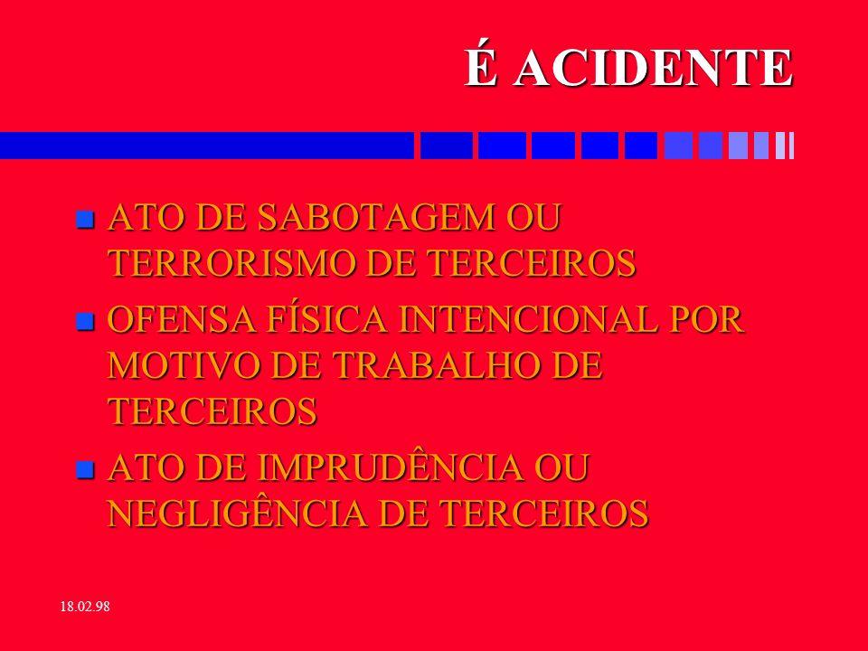 É ACIDENTE ATO DE SABOTAGEM OU TERRORISMO DE TERCEIROS