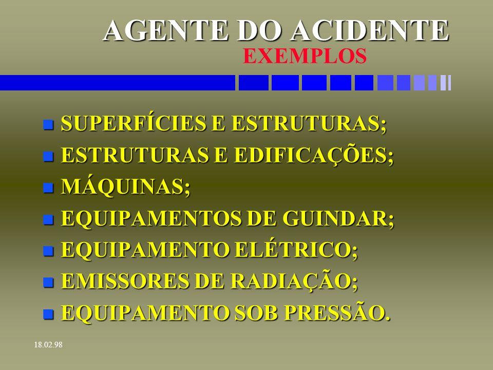AGENTE DO ACIDENTE EXEMPLOS SUPERFÍCIES E ESTRUTURAS;