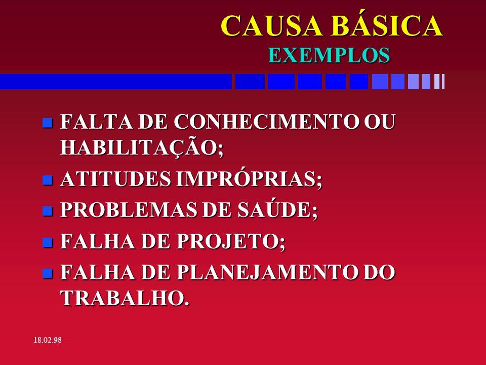 CAUSA BÁSICA EXEMPLOS FALTA DE CONHECIMENTO OU HABILITAÇÃO;