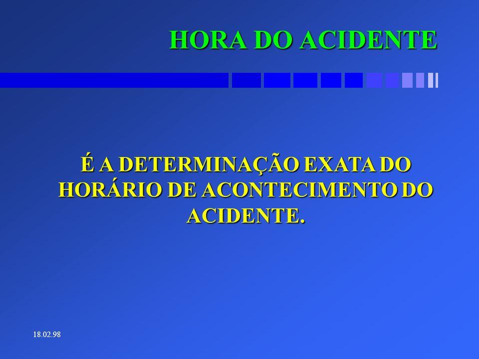 É A DETERMINAÇÃO EXATA DO HORÁRIO DE ACONTECIMENTO DO ACIDENTE.
