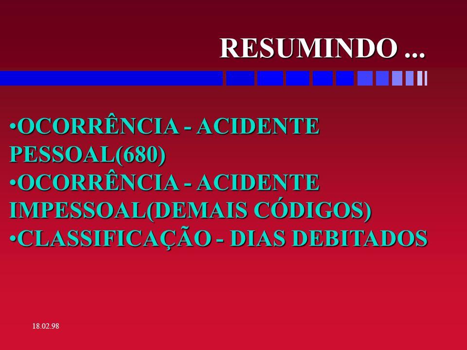 RESUMINDO ... OCORRÊNCIA - ACIDENTE PESSOAL(680)