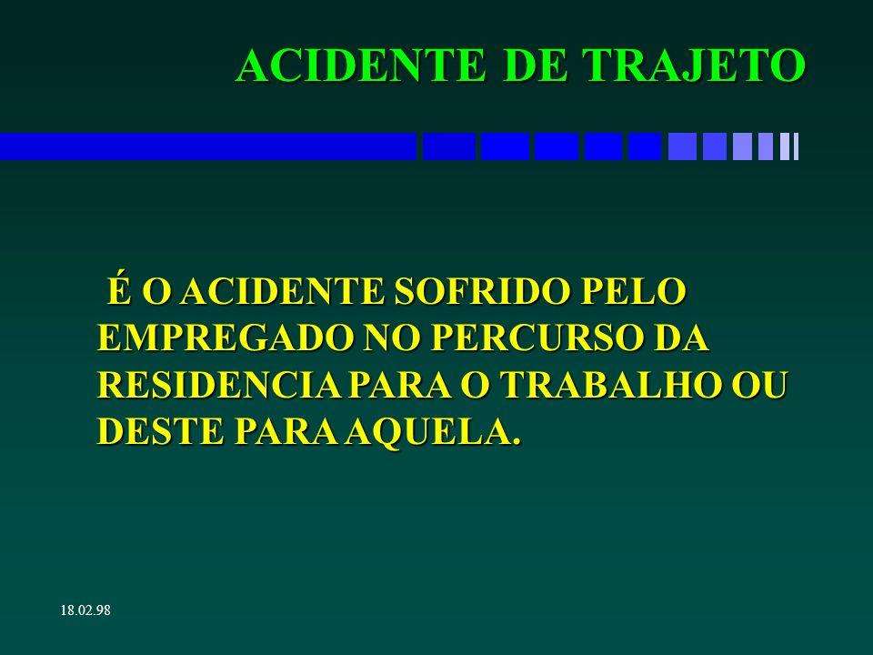 ACIDENTE DE TRAJETO É O ACIDENTE SOFRIDO PELO EMPREGADO NO PERCURSO DA RESIDENCIA PARA O TRABALHO OU DESTE PARA AQUELA.