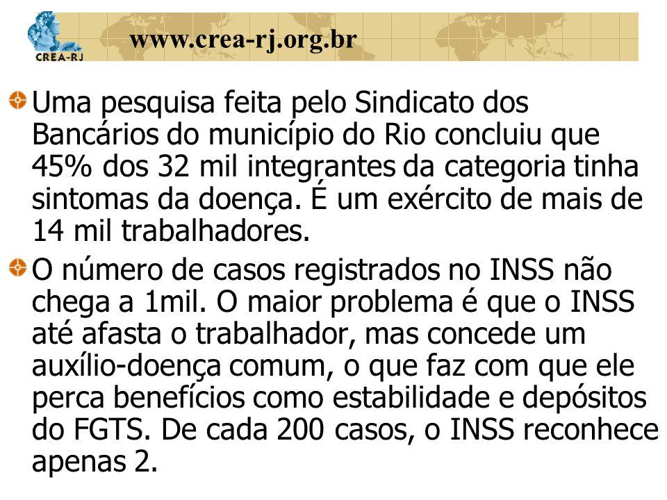Uma pesquisa feita pelo Sindicato dos Bancários do município do Rio concluiu que 45% dos 32 mil integrantes da categoria tinha sintomas da doença. É um exército de mais de 14 mil trabalhadores.