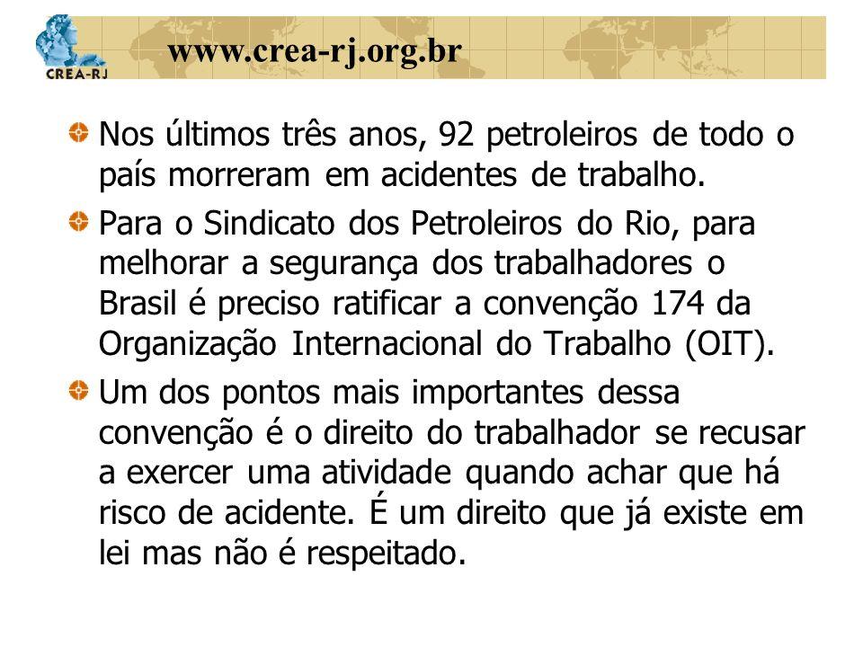 Nos últimos três anos, 92 petroleiros de todo o país morreram em acidentes de trabalho.