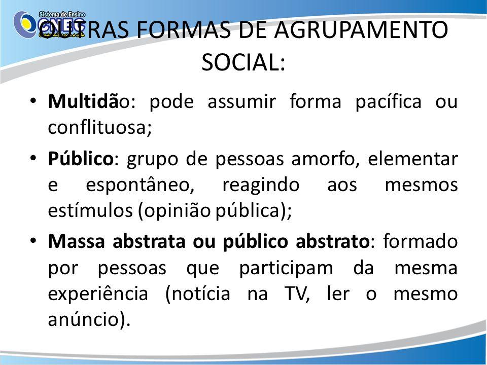 OUTRAS FORMAS DE AGRUPAMENTO SOCIAL: