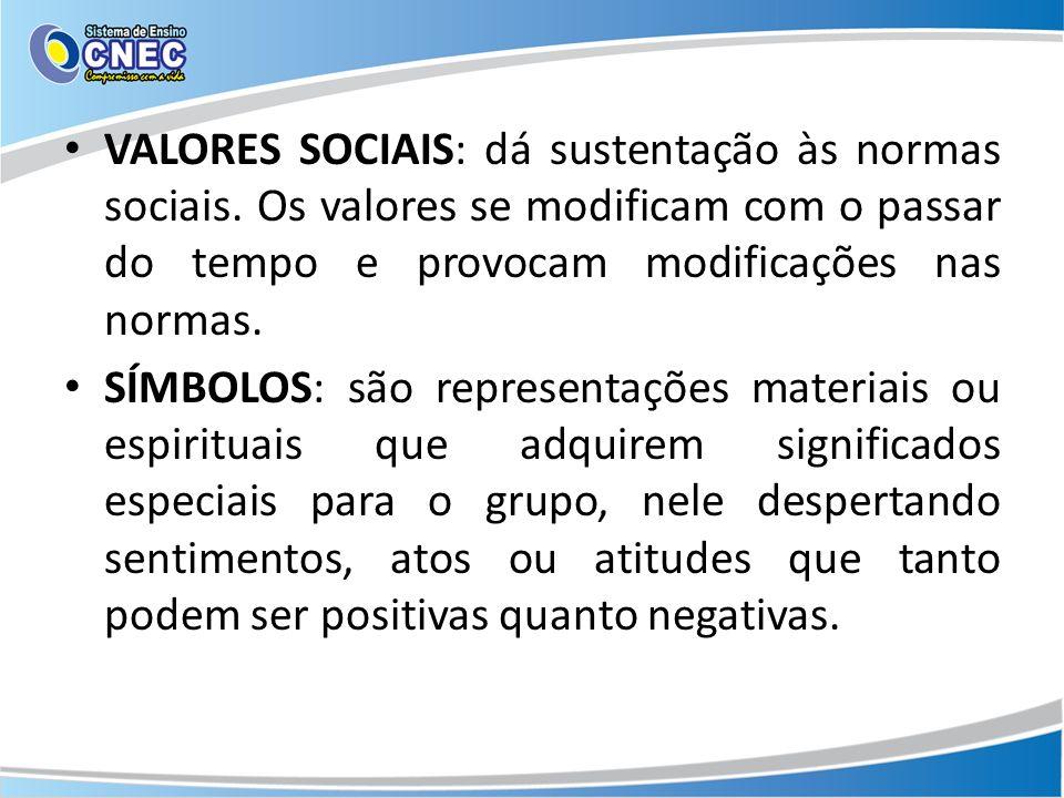VALORES SOCIAIS: dá sustentação às normas sociais