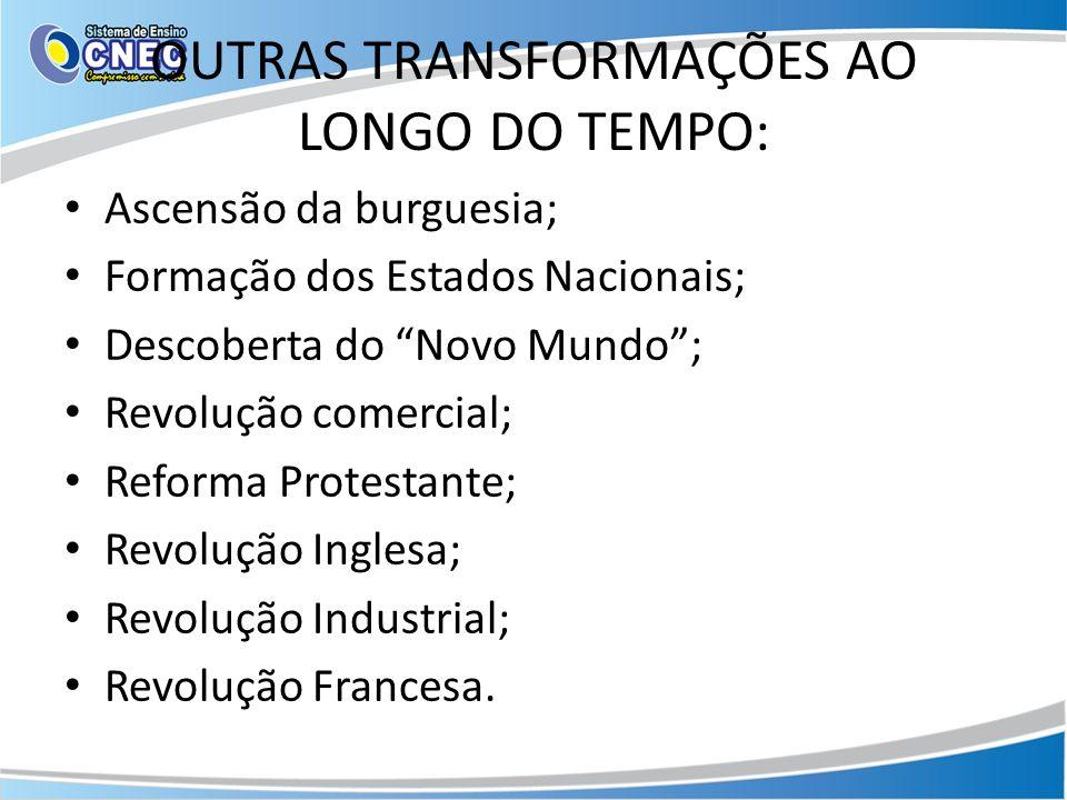 OUTRAS TRANSFORMAÇÕES AO LONGO DO TEMPO: