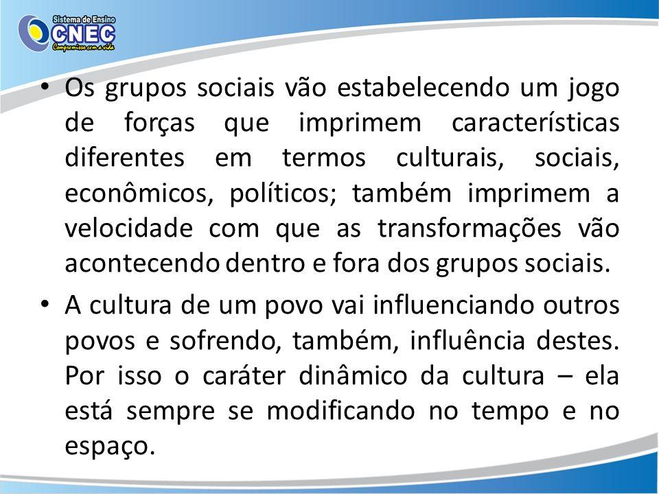 Os grupos sociais vão estabelecendo um jogo de forças que imprimem características diferentes em termos culturais, sociais, econômicos, políticos; também imprimem a velocidade com que as transformações vão acontecendo dentro e fora dos grupos sociais.