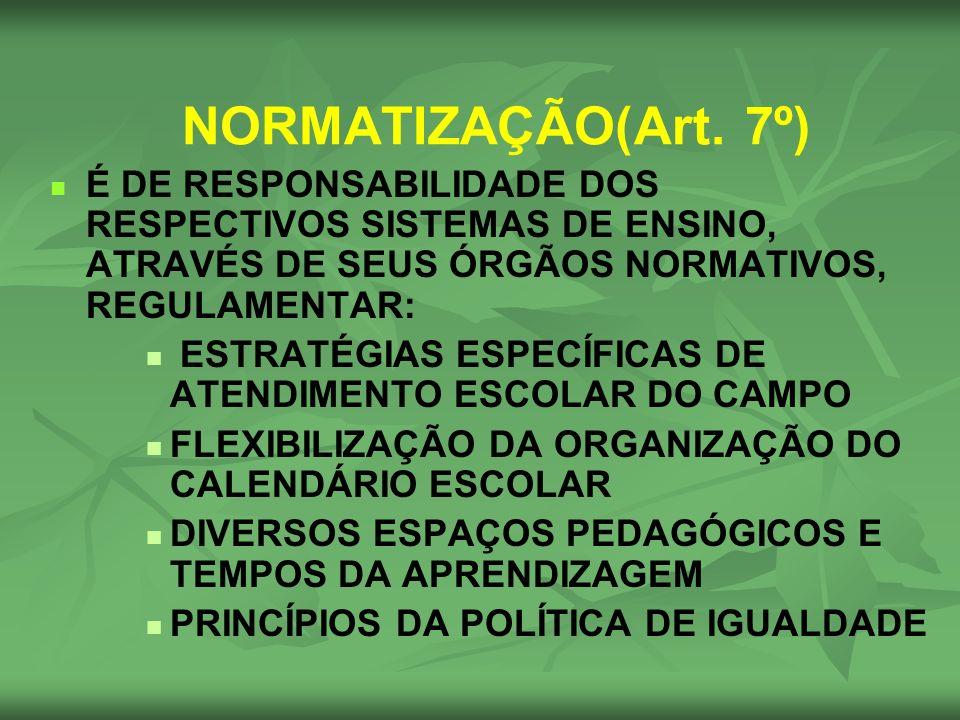 NORMATIZAÇÃO(Art. 7º) É DE RESPONSABILIDADE DOS RESPECTIVOS SISTEMAS DE ENSINO, ATRAVÉS DE SEUS ÓRGÃOS NORMATIVOS, REGULAMENTAR: