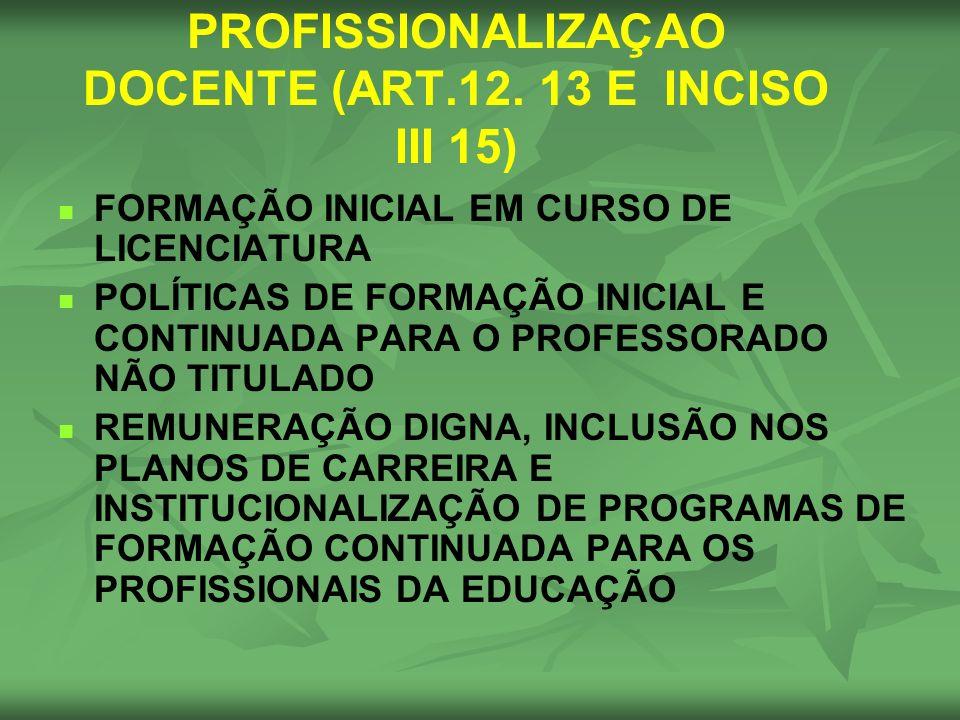PROFISSIONALIZAÇAO DOCENTE (ART.12. 13 E INCISO III 15)