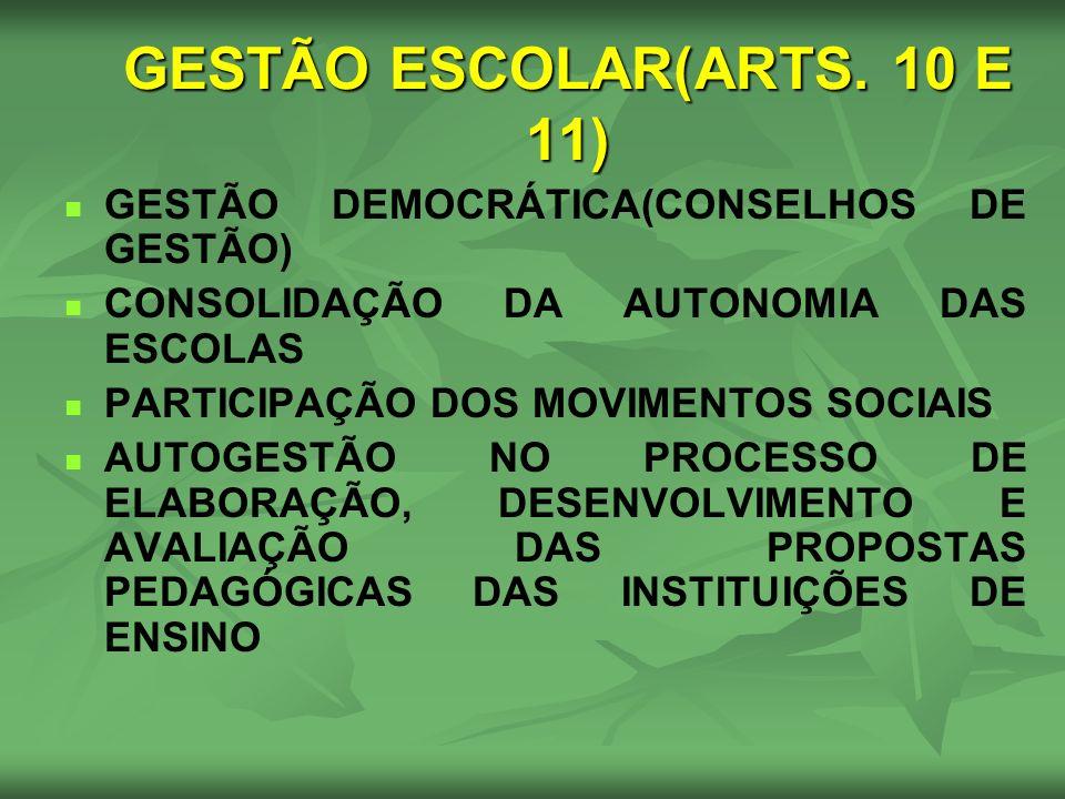 GESTÃO ESCOLAR(ARTS. 10 E 11)