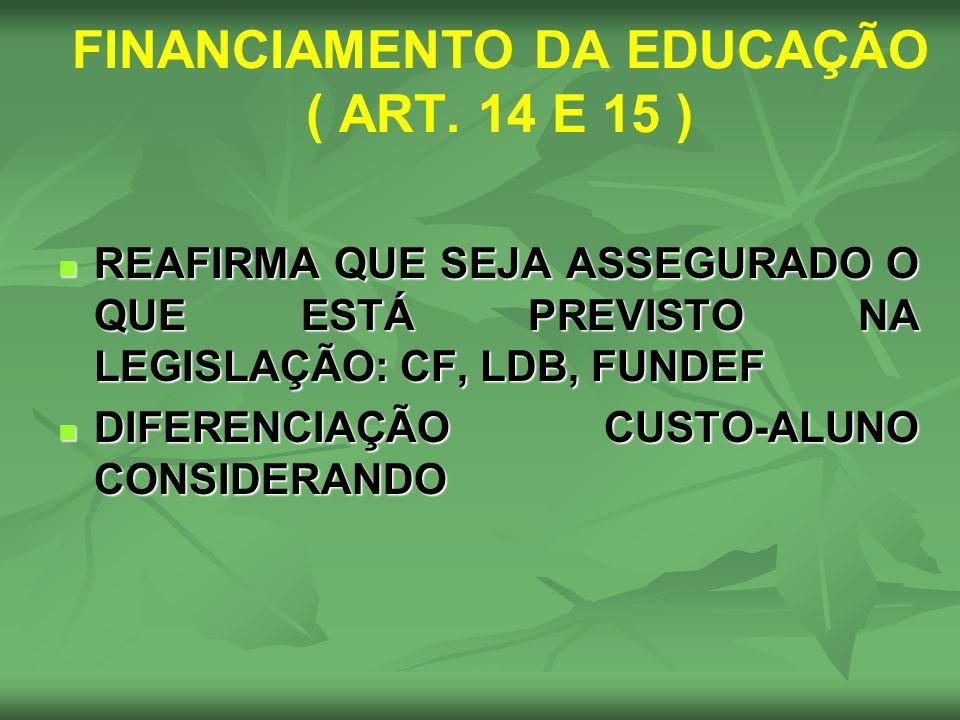 FINANCIAMENTO DA EDUCAÇÃO ( ART. 14 E 15 )