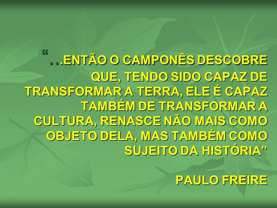 ...ENTÃO O CAMPONÊS DESCOBRE QUE, TENDO SIDO CAPAZ DE TRANSFORMAR A TERRA, ELE É CAPAZ TAMBÉM DE TRANSFORMAR A CULTURA, RENASCE NÃO MAIS COMO OBJETO DELA, MAS TAMBÉM COMO SUJEITO DA HISTÓRIA PAULO FREIRE