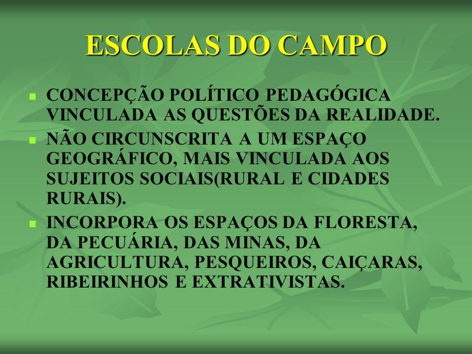 ESCOLAS DO CAMPO CONCEPÇÃO POLÍTICO PEDAGÓGICA VINCULADA AS QUESTÕES DA REALIDADE.