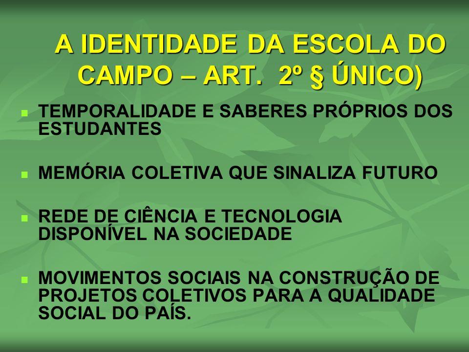 A IDENTIDADE DA ESCOLA DO CAMPO – ART. 2º § ÚNICO)
