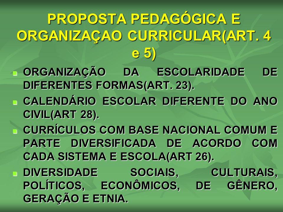 PROPOSTA PEDAGÓGICA E ORGANIZAÇAO CURRICULAR(ART. 4 e 5)