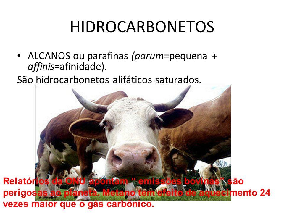 HIDROCARBONETOS ALCANOS ou parafinas (parum=pequena + affinis=afinidade). São hidrocarbonetos alifáticos saturados.
